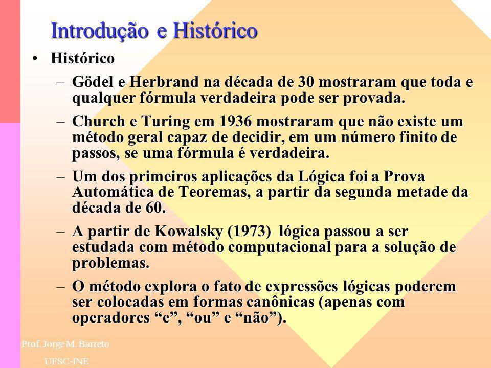 Prof. Jorge M. Barreto UFSC-INE Introdução e Histórico HistóricoHistórico –Um sistema lógico como sistema formal, consiste em um conjunto de fórmulas