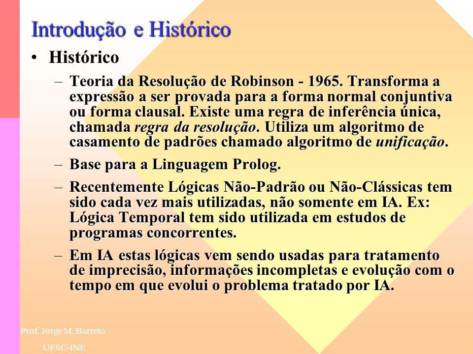 Prof. Jorge M. Barreto UFSC-INE Introdução e Histórico HistóricoHistórico –Gödel e Herbrand na década de 30 mostraram que toda e qualquer fórmula verd
