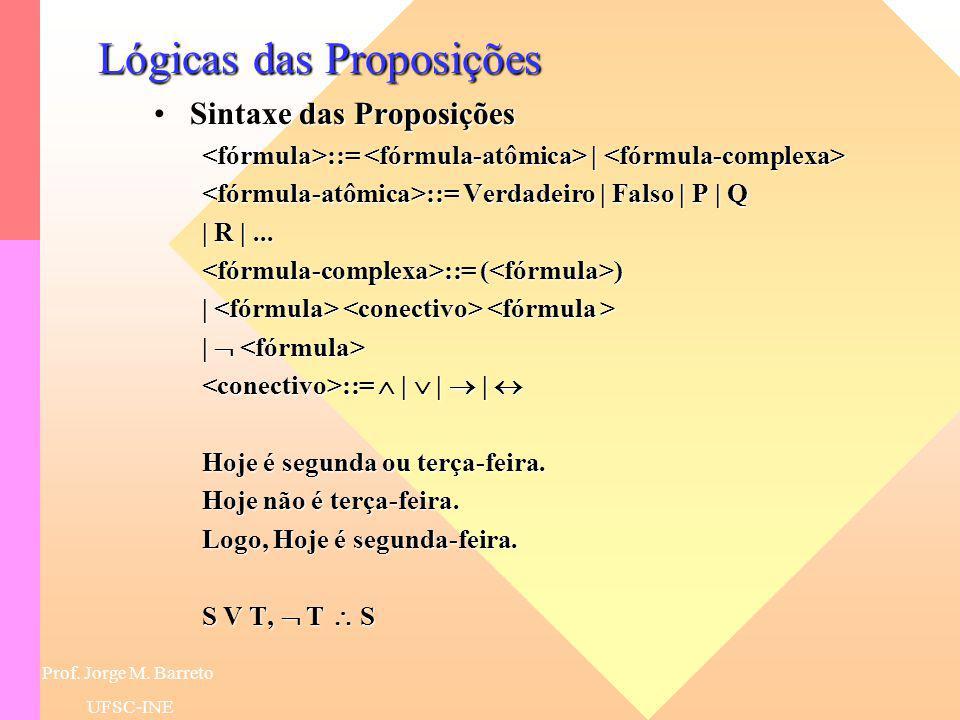 Prof. Jorge M. Barreto UFSC-INE Lógicas Clássicas Cálculo das ProposiçõesCálculo das Proposições –O Cálculo das Proposições se interessa pelas SENTENÇ