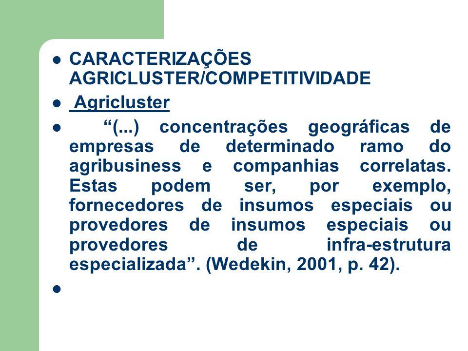 CARACTERIZAÇÕES AGRICLUSTER/COMPETITIVIDADE Agricluster (...) concentrações geográficas de empresas de determinado ramo do agribusiness e companhias correlatas.