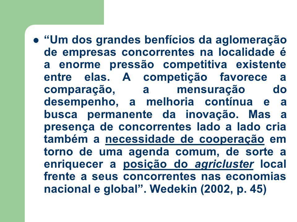 Um dos grandes benfícios da aglomeração de empresas concorrentes na localidade é a enorme pressão competitiva existente entre elas.