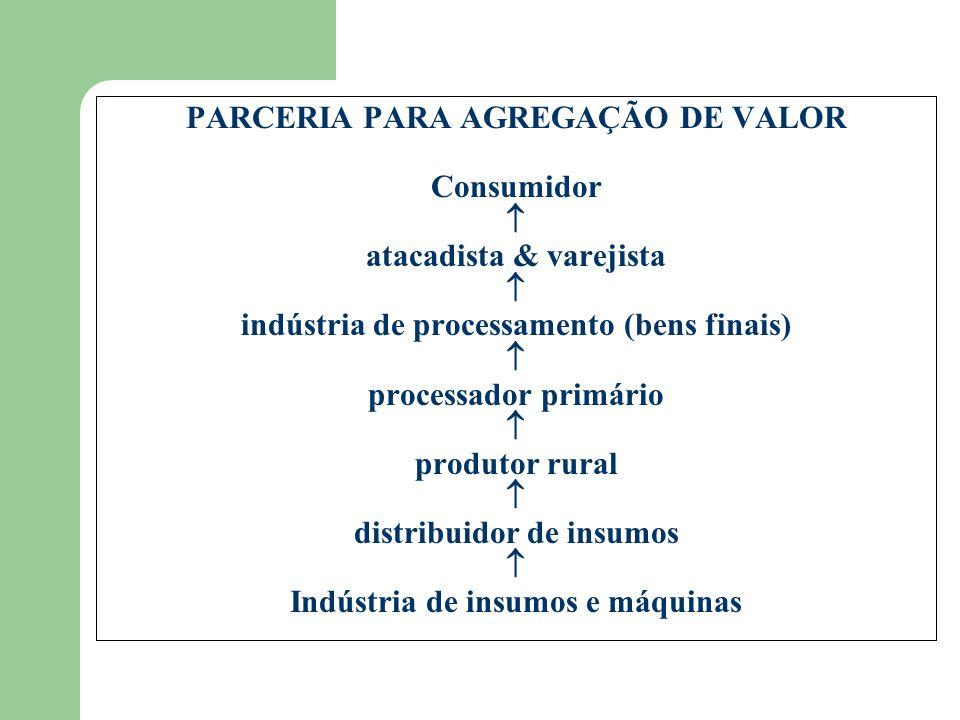 PARCERIA PARA AGREGAÇÃO DE VALOR Consumidor atacadista & varejista indústria de processamento (bens finais) processador primário produtor rural distribuidor de insumos Indústria de insumos e máquinas