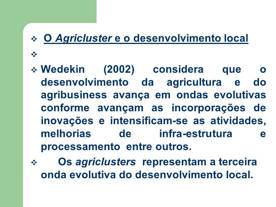 O Agricluster e o desenvolvimento local Wedekin (2002) considera que o desenvolvimento da agricultura e do agribusiness avança em ondas evolutivas conforme avançam as incorporações de inovações e intensificam-se as atividades, melhorias de infra-estrutura e processamento entre outros.