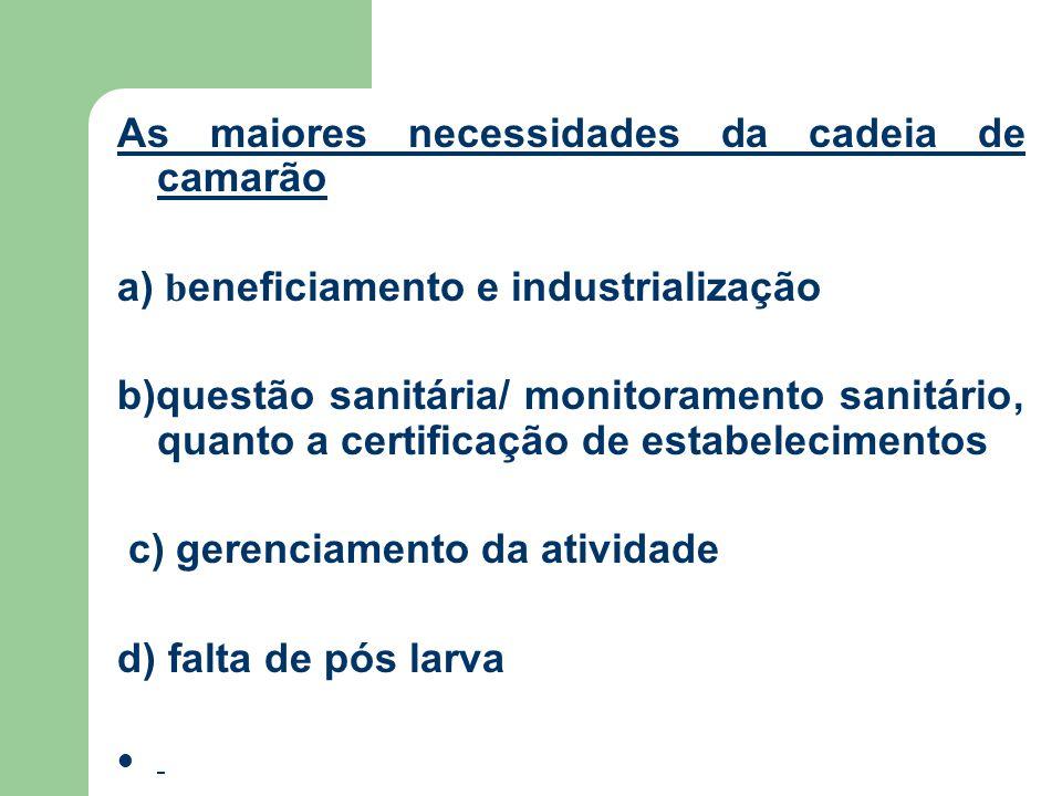As maiores necessidades da cadeia de camarão a) b eneficiamento e industrialização b)questão sanitária/ monitoramento sanitário, quanto a certificação de estabelecimentos c) gerenciamento da atividade d) falta de pós larva
