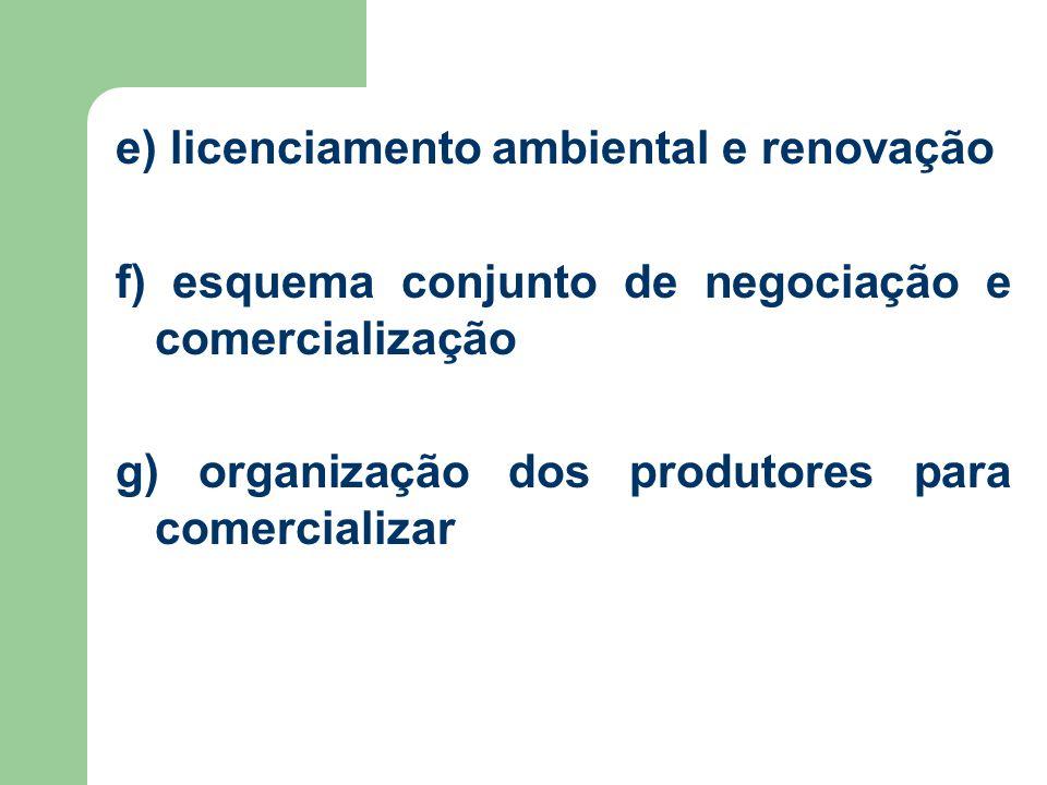 e) licenciamento ambiental e renovação f) esquema conjunto de negociação e comercialização g) organização dos produtores para comercializar