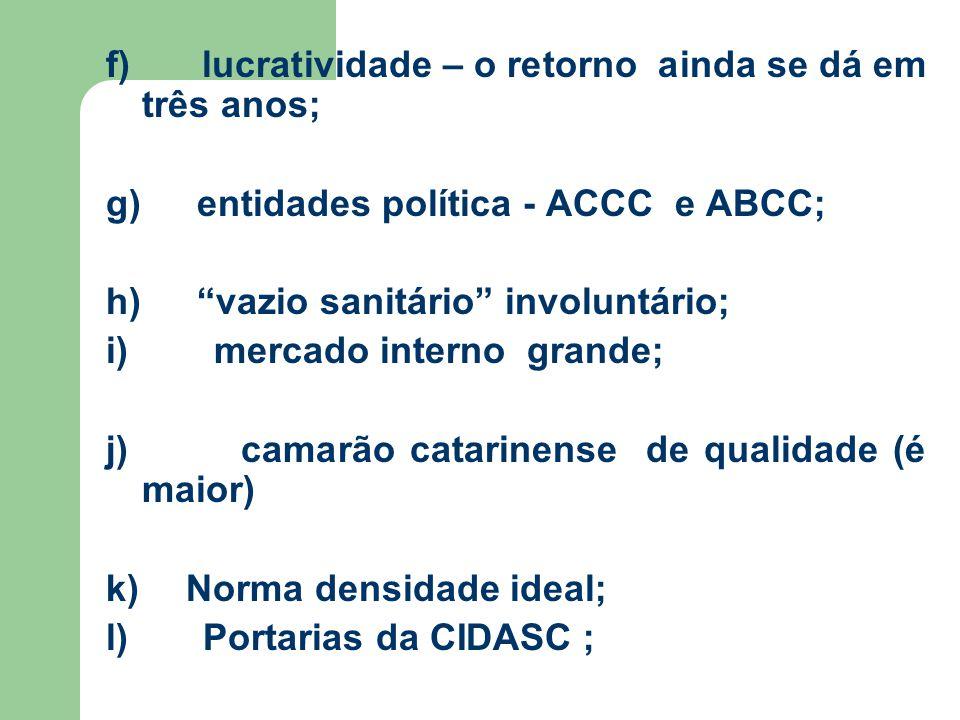 f) lucratividade – o retorno ainda se dá em três anos; g) entidades política - ACCC e ABCC; h) vazio sanitário involuntário; i) mercado interno grande; j) camarão catarinense de qualidade (é maior) k) Norma densidade ideal; l) Portarias da CIDASC ;