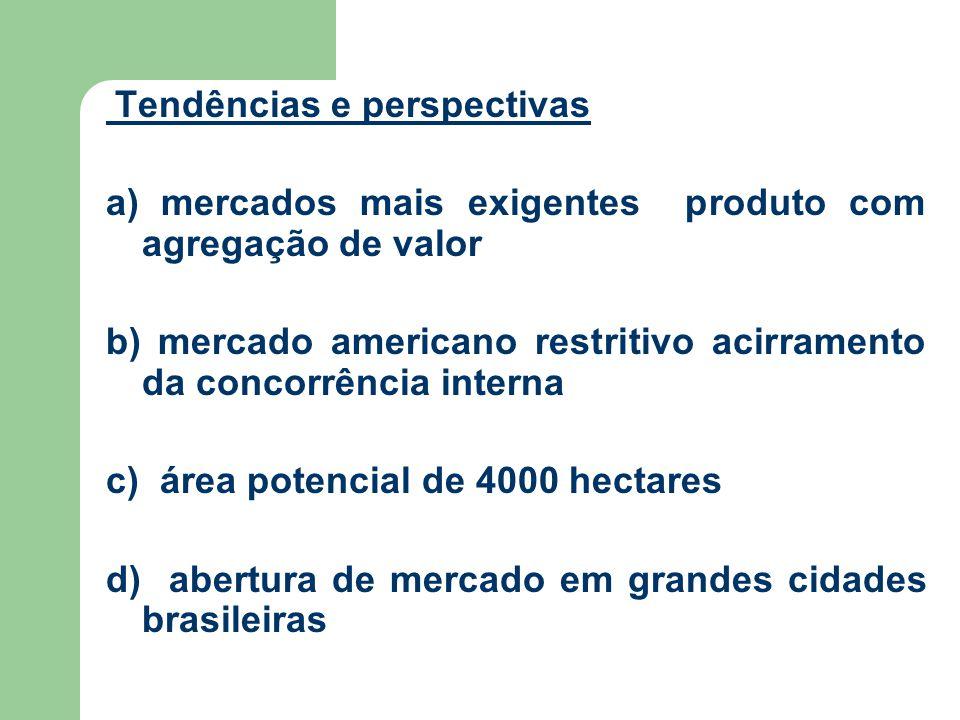 Tendências e perspectivas a) mercados mais exigentes produto com agregação de valor b) mercado americano restritivo acirramento da concorrência interna c) área potencial de 4000 hectares d) abertura de mercado em grandes cidades brasileiras