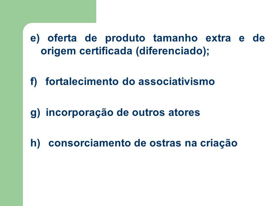 e) oferta de produto tamanho extra e de origem certificada (diferenciado); f) fortalecimento do associativismo g) incorporação de outros atores h) consorciamento de ostras na criação