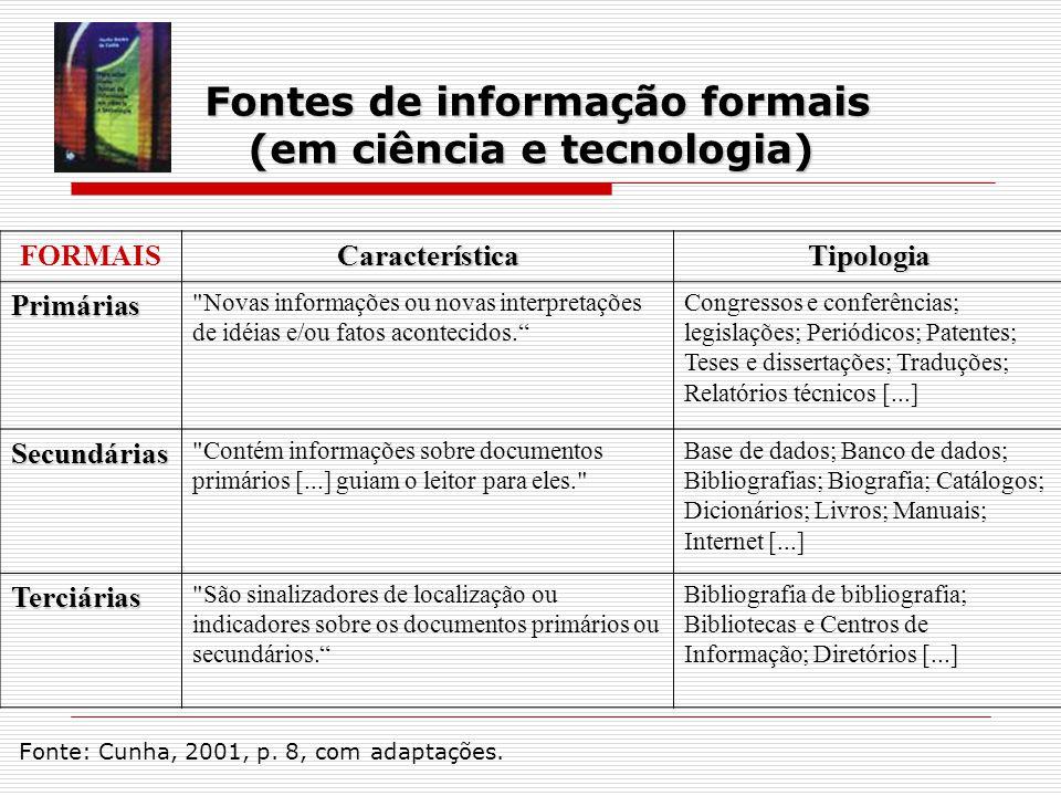 FORMAISCaracterísticaTipologia Primárias Novas informações ou novas interpretações de idéias e/ou fatos acontecidos.
