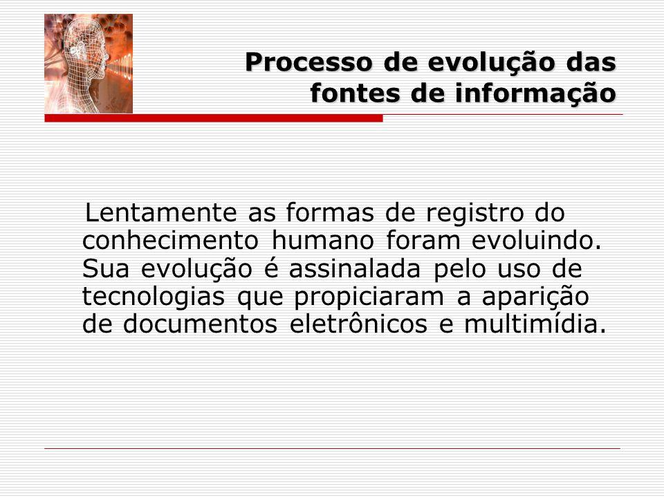 Processo de evolução das fontes de informação Lentamente as formas de registro do conhecimento humano foram evoluindo.