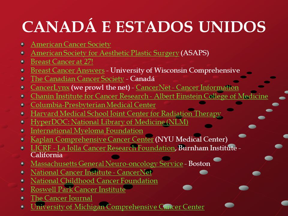 CANADÁ E ESTADOS UNIDOS American Cancer Society American Society for Aesthetic Plastic SurgeryAmerican Society for Aesthetic Plastic Surgery (ASAPS) Breast Cancer at 27.