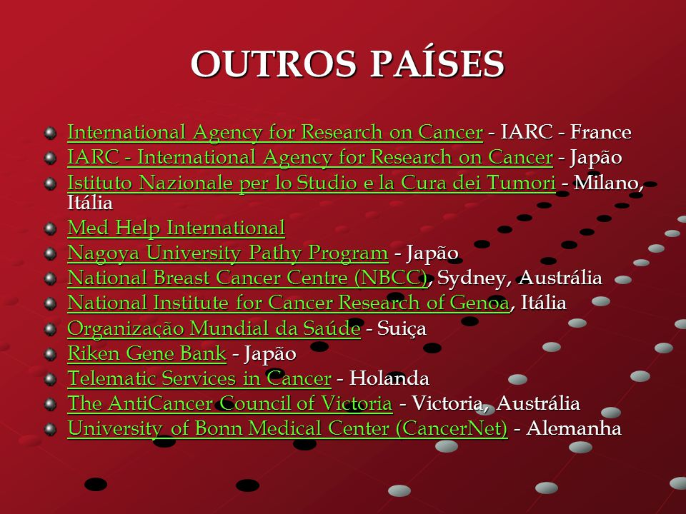 OUTROS PAÍSES OUTROS PAÍSES International Agency for Research on CancerInternational Agency for Research on Cancer - IARC - France International Agenc