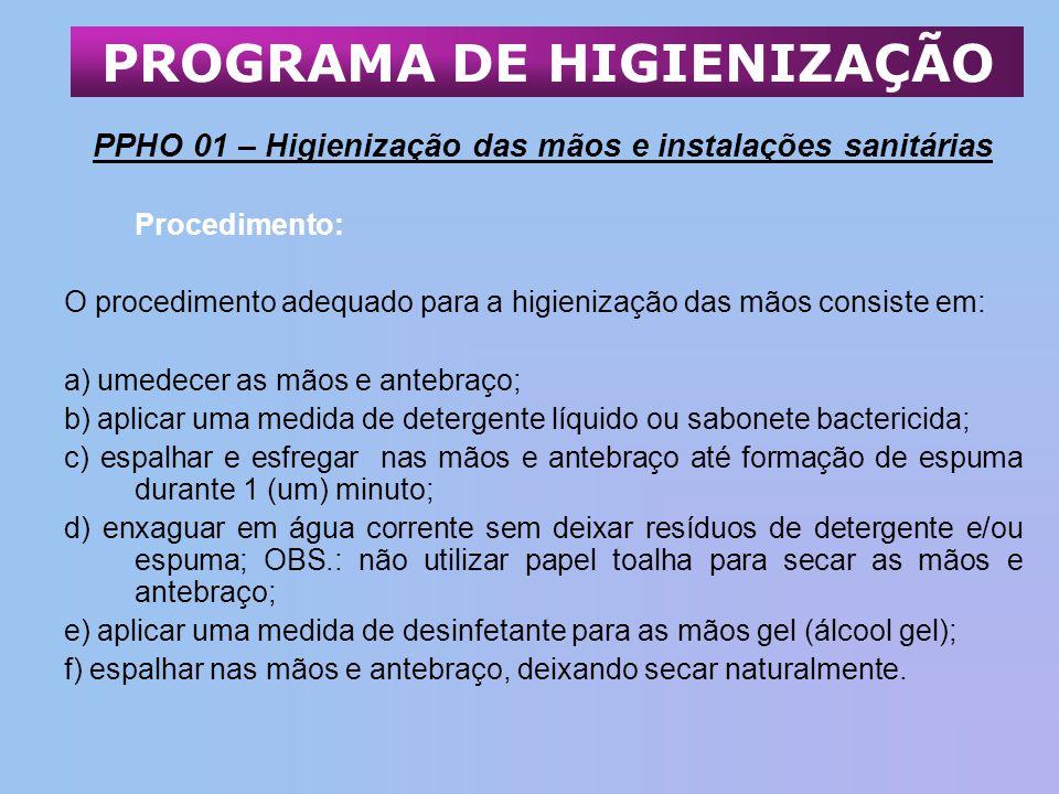 PPHO 01 – Higienização das mãos e instalações sanitárias Procedimento: O procedimento adequado para a higienização das mãos consiste em: a) umedecer a