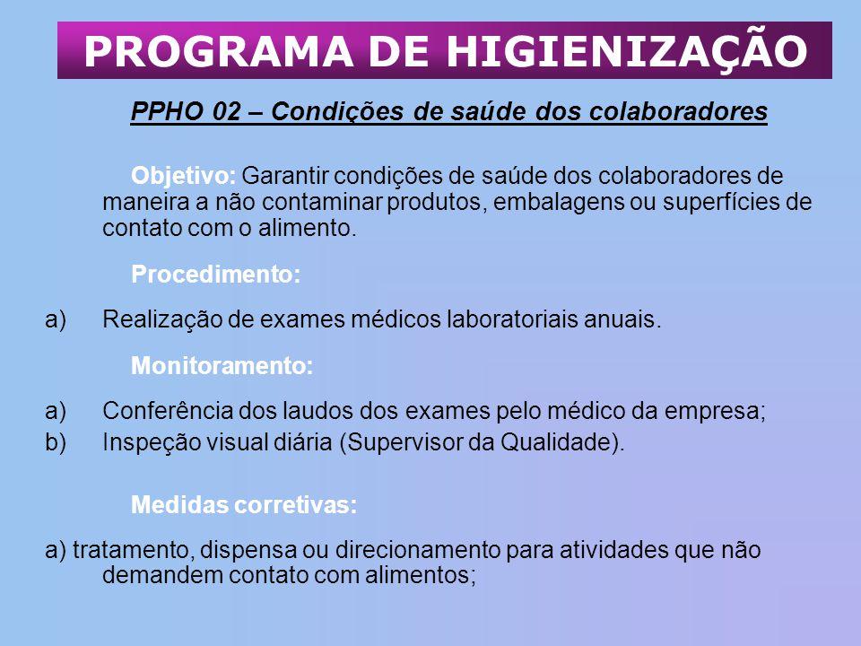 PPHO 02 – Condições de saúde dos colaboradores Objetivo: Garantir condições de saúde dos colaboradores de maneira a não contaminar produtos, embalagen
