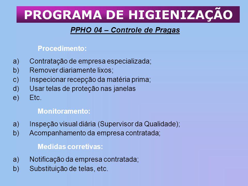 PPHO 04 – Controle de Pragas Procedimento: a)Contratação de empresa especializada; b)Remover diariamente lixos; c)Inspecionar recepção da matéria prim