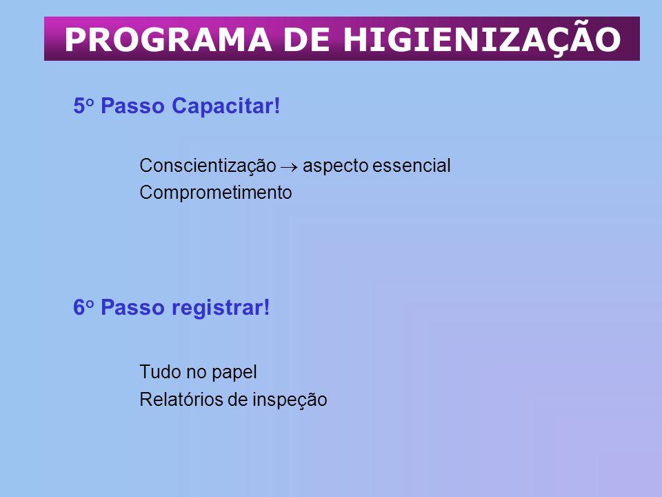 5 o Passo Capacitar! Conscientização aspecto essencial Comprometimento 6 o Passo registrar! Tudo no papel Relatórios de inspeção PROGRAMA DE HIGIENIZA