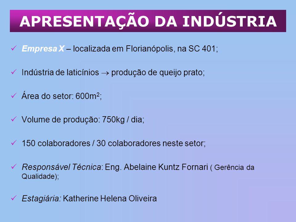 Empresa X – localizada em Florianópolis, na SC 401; Indústria de laticínios produção de queijo prato; Área do setor: 600m 2 ; Volume de produção: 750k