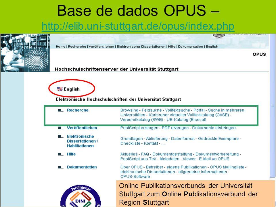 Base de dados OPUS – http://elib.uni-stuttgart.de/opus/index.php http://elib.uni-stuttgart.de/opus/index.php Online Publikationsverbunds der Universit