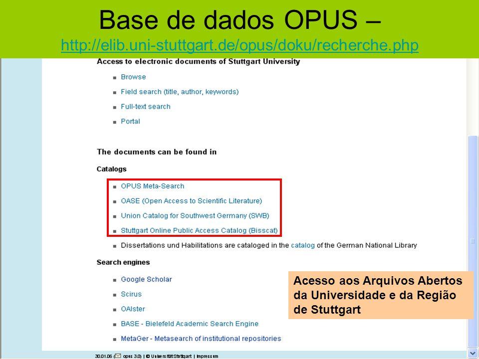 Base de dados OPUS – http://elib.uni-stuttgart.de/opus/doku/recherche.php http://elib.uni-stuttgart.de/opus/doku/recherche.php Acesso aos Arquivos Abe