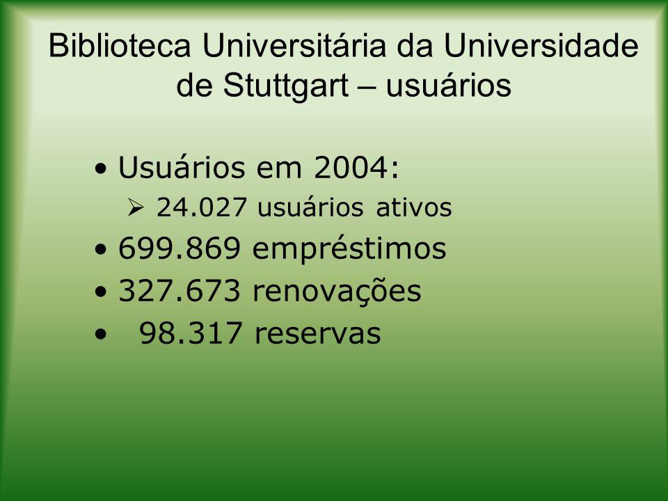 Biblioteca Universitária da Universidade de Stuttgart – geral 128 bibliotecas setoriais e de institutos da universidade - http://www.ub.uni- stuttgart.de/wirueberuns/bibsystem/http://www.ub.uni- stuttgart.de/wirueberuns/bibsystem/ 77 funcionários (empregos) - http://www.ub.uni- stuttgart.de/wirueberuns/mitarbeiter/ http://www.ub.uni- stuttgart.de/wirueberuns/mitarbeiter/
