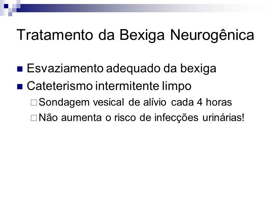 Tratamento da Bexiga Neurogênica Esvaziamento adequado da bexiga Cateterismo intermitente limpo Sondagem vesical de alívio cada 4 horas Não aumenta o risco de infecções urinárias!