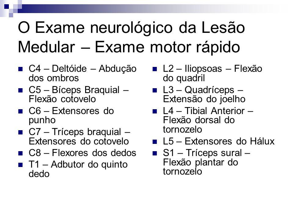 O Exame neurológico da Lesão Medular – Exame motor rápido C4 – Deltóide – Abdução dos ombros C5 – Bíceps Braquial – Flexão cotovelo C6 – Extensores do punho C7 – Tríceps braquial – Extensores do cotovelo C8 – Flexores dos dedos T1 – Adbutor do quinto dedo L2 – Iliopsoas – Flexão do quadril L3 – Quadríceps – Extensão do joelho L4 – Tibial Anterior – Flexão dorsal do tornozelo L5 – Extensores do Hálux S1 – Tríceps sural – Flexão plantar do tornozelo