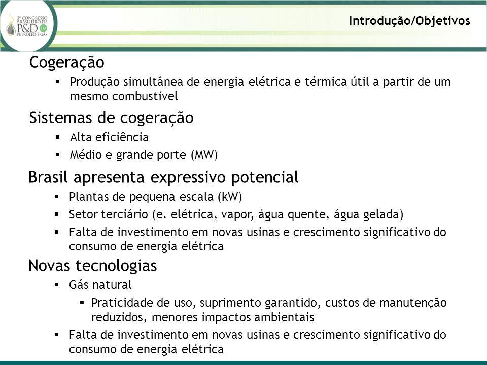 Introdução/Objetivos Cogeração Produção simultânea de energia elétrica e térmica útil a partir de um mesmo combustível Sistemas de cogeração Alta eficiência Médio e grande porte (MW) Brasil apresenta expressivo potencial Plantas de pequena escala (kW) Setor terciário (e.