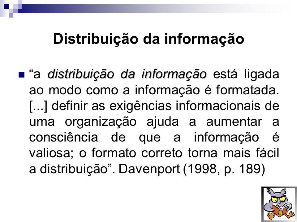 Distribuição da informação distribuição da informação a distribuição da informação está ligada ao modo como a informação é formatada. [...] definir as
