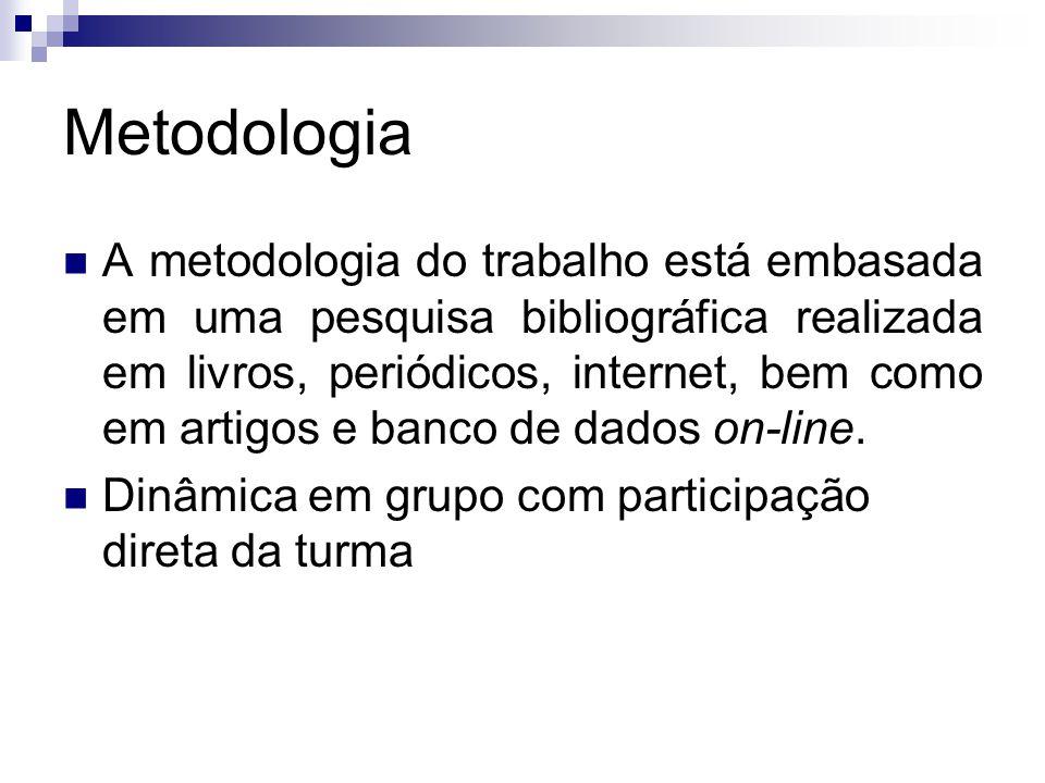 Metodologia A metodologia do trabalho está embasada em uma pesquisa bibliográfica realizada em livros, periódicos, internet, bem como em artigos e ban