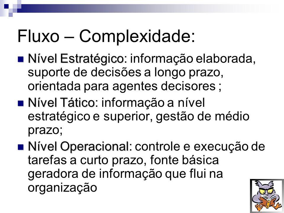 Fluxo – Complexidade: Nível Estratégico Nível Estratégico: informação elaborada, suporte de decisões a longo prazo, orientada para agentes decisores ;
