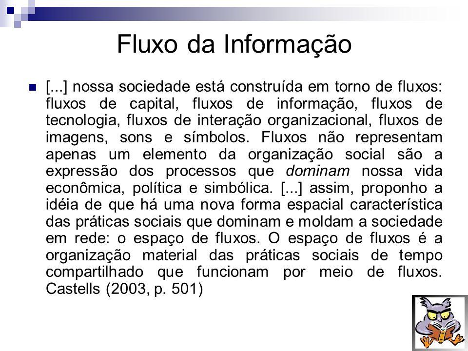 fluxos de informações Conforme Le Coadic (1996), os fluxos de informações consistem na circulação de informações por unidade de tempo.
