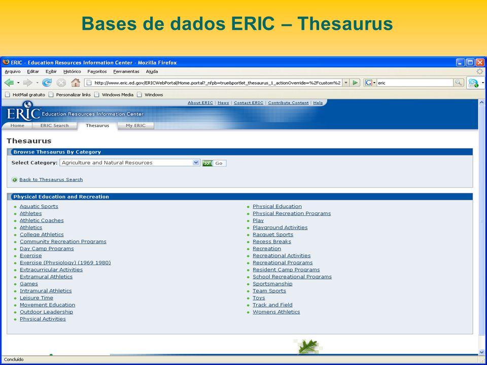 Bases de dados ERIC – Thesaurus