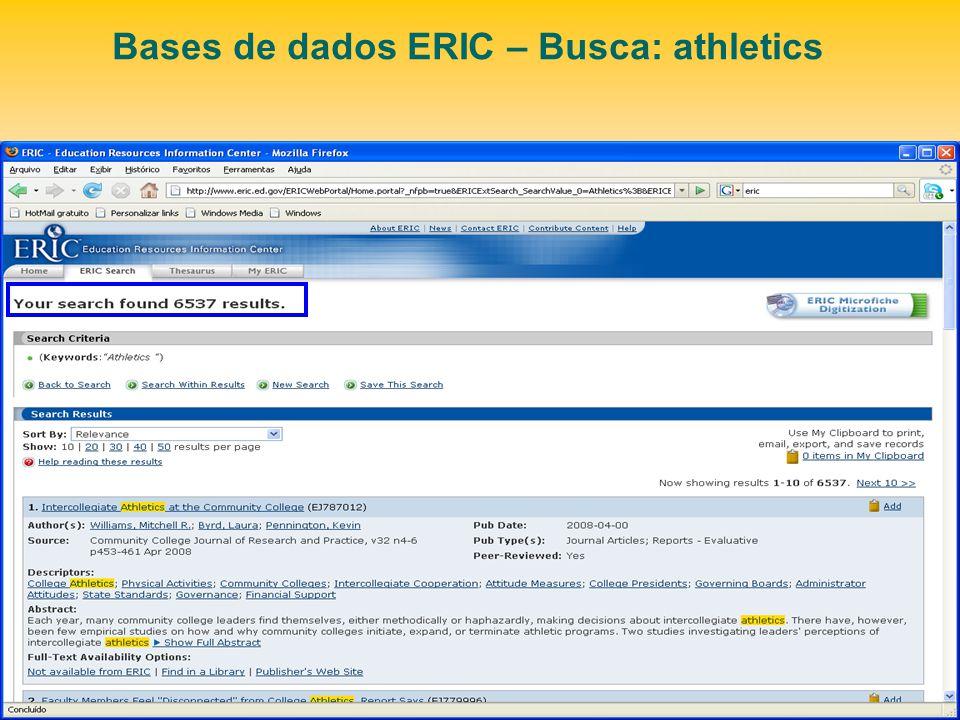 Bases de dados ERIC – Busca: athletics