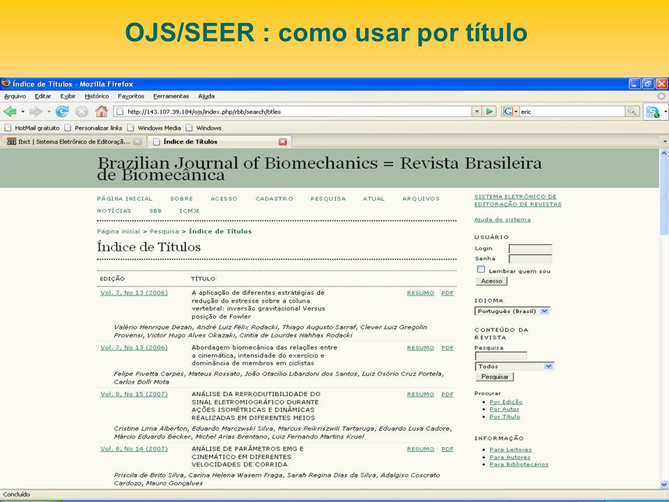 OJS/SEER : como usar por título