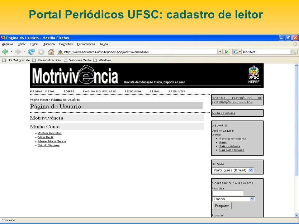 Portal Periódicos UFSC: cadastro de leitor
