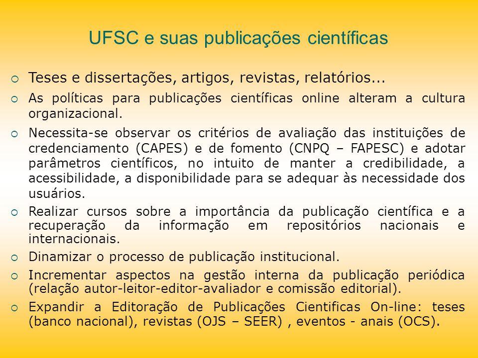 UFSC e suas publicações científicas Teses e dissertações, artigos, revistas, relatórios... As políticas para publicações científicas online alteram a