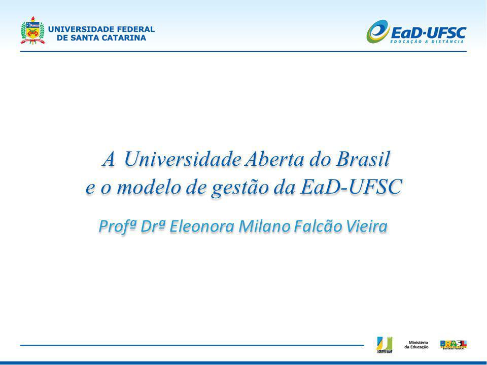Número de bolsistas UAB UFSC - FNDE Professores – 186 Tutores – 371 Equipes de Produção de Material CED - 1 CSE – 2 CCE – 1 Laboratórios - 2