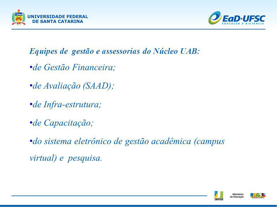 Equipes de gestão e assessorias do Núcleo UAB: de Gestão Financeira; de Avaliação (SAAD); de Infra-estrutura; de Capacitação; do sistema eletrônico de
