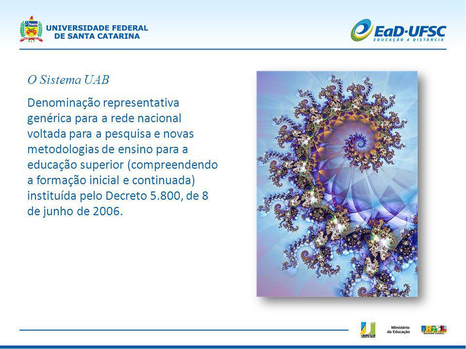 O Sistema UAB Denominação representativa genérica para a rede nacional voltada para a pesquisa e novas metodologias de ensino para a educação superior