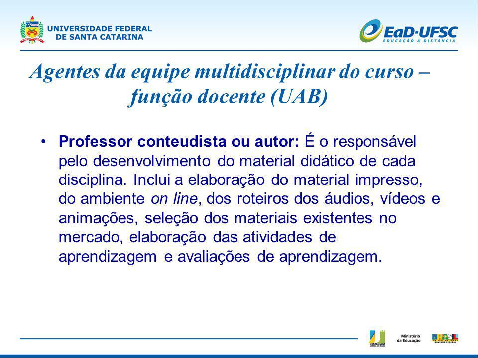 Professor conteudista ou autor: É o responsável pelo desenvolvimento do material didático de cada disciplina. Inclui a elaboração do material impresso