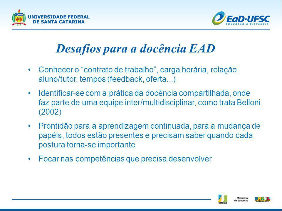 Desafios para a docência EAD Conhecer o contrato de trabalho, carga horária, relação aluno/tutor, tempos (feedback, oferta...) Identificar-se com a pr