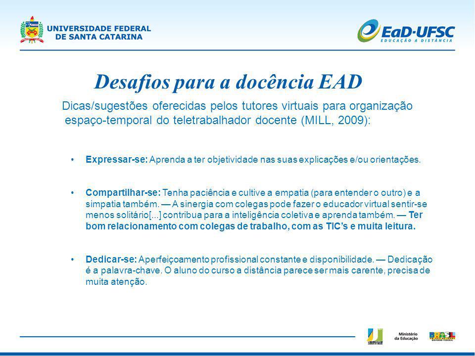 Desafios para a docência EAD Dicas/sugestões oferecidas pelos tutores virtuais para organização espaço-temporal do teletrabalhador docente (MILL, 2009