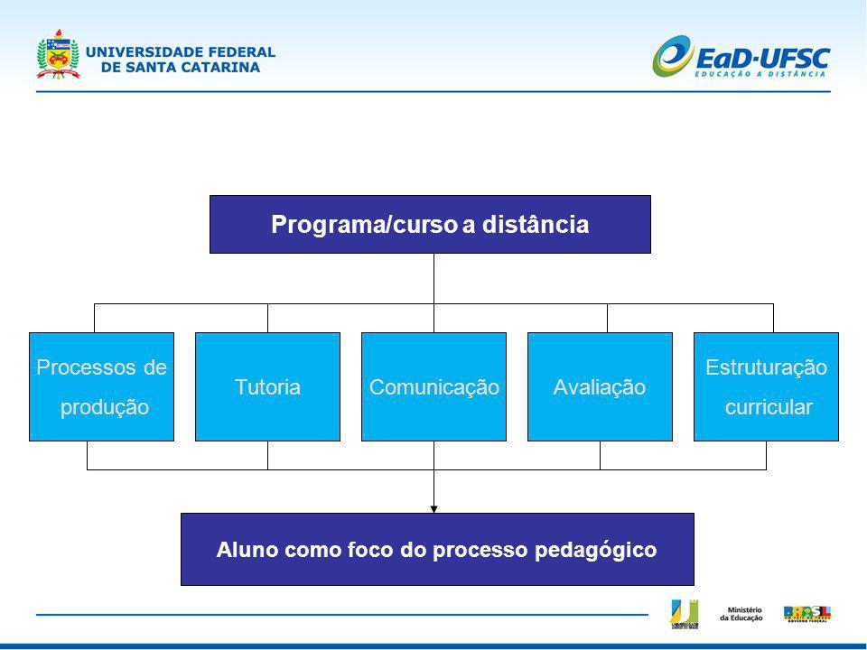 Programa/curso a distância Processos de produção TutoriaComunicaçãoAvaliação Estruturação curricular Aluno como foco do processo pedagógico