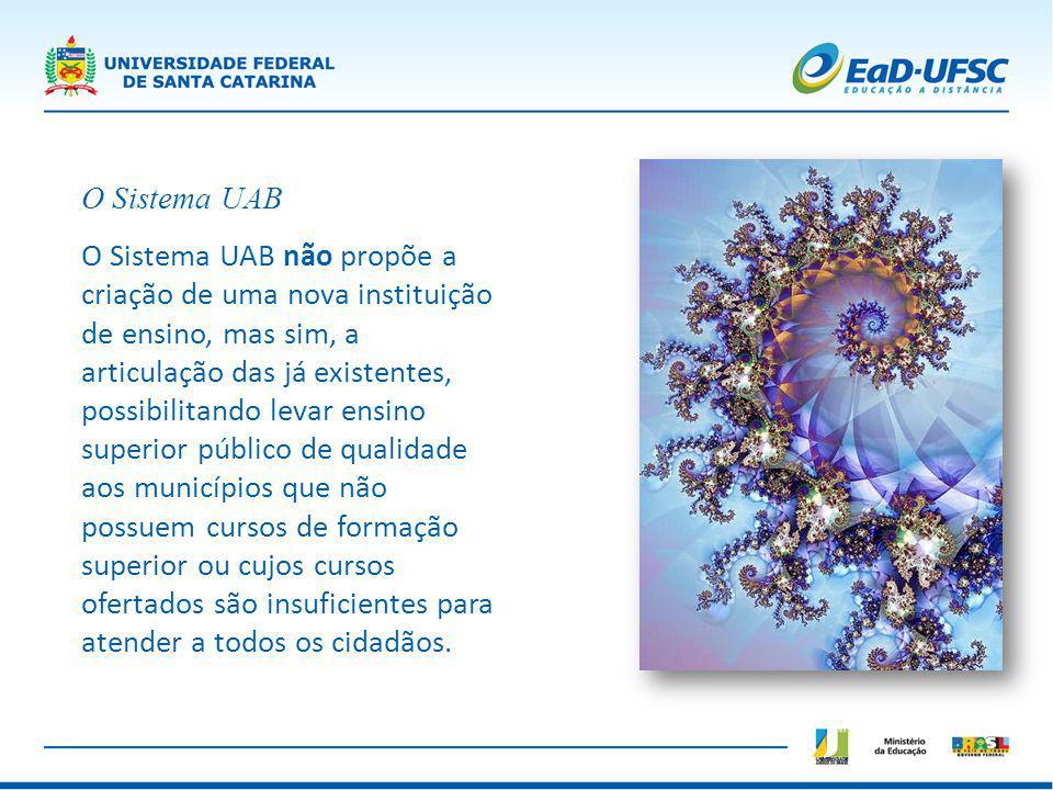 O Sistema UAB O Sistema UAB não propõe a criação de uma nova instituição de ensino, mas sim, a articulação das já existentes, possibilitando levar ens