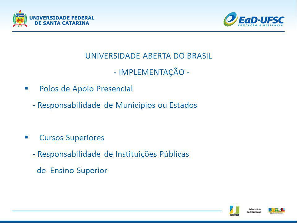 UNIVERSIDADE ABERTA DO BRASIL - IMPLEMENTAÇÃO - Polos de Apoio Presencial - Responsabilidade de Municípios ou Estados Cursos Superiores - Responsabili