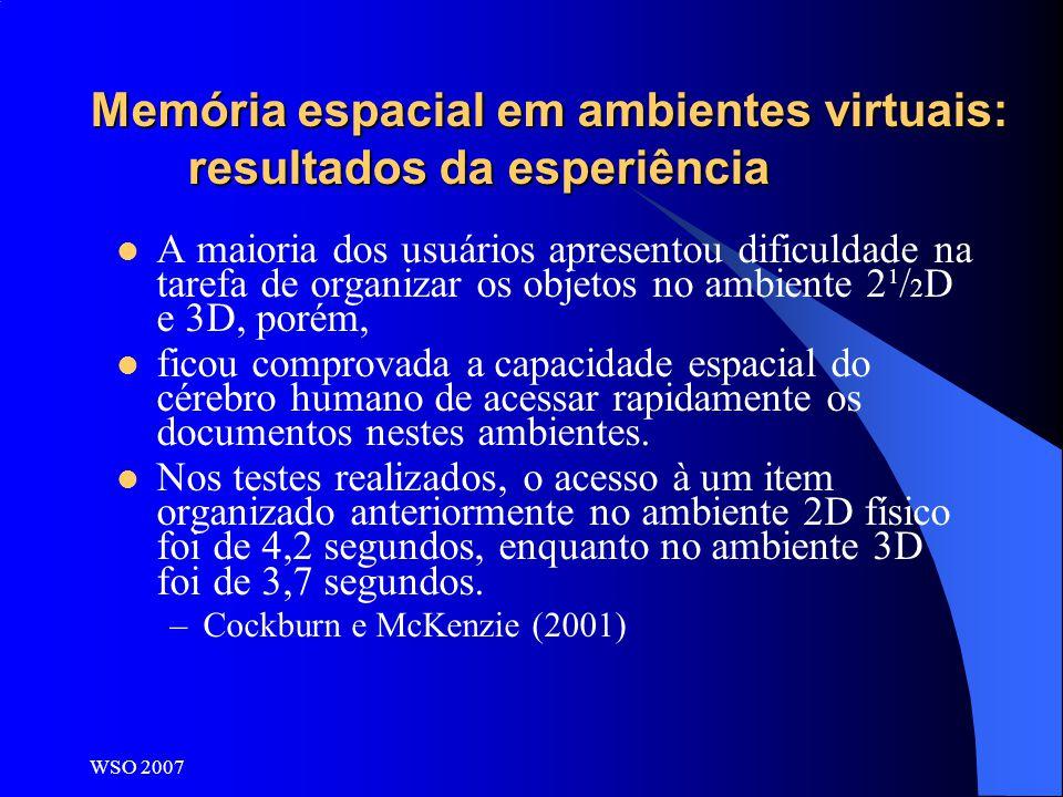 WSO 2007 Memória espacial em ambientes virtuais: resultados da esperiência A maioria dos usuários apresentou dificuldade na tarefa de organizar os obj