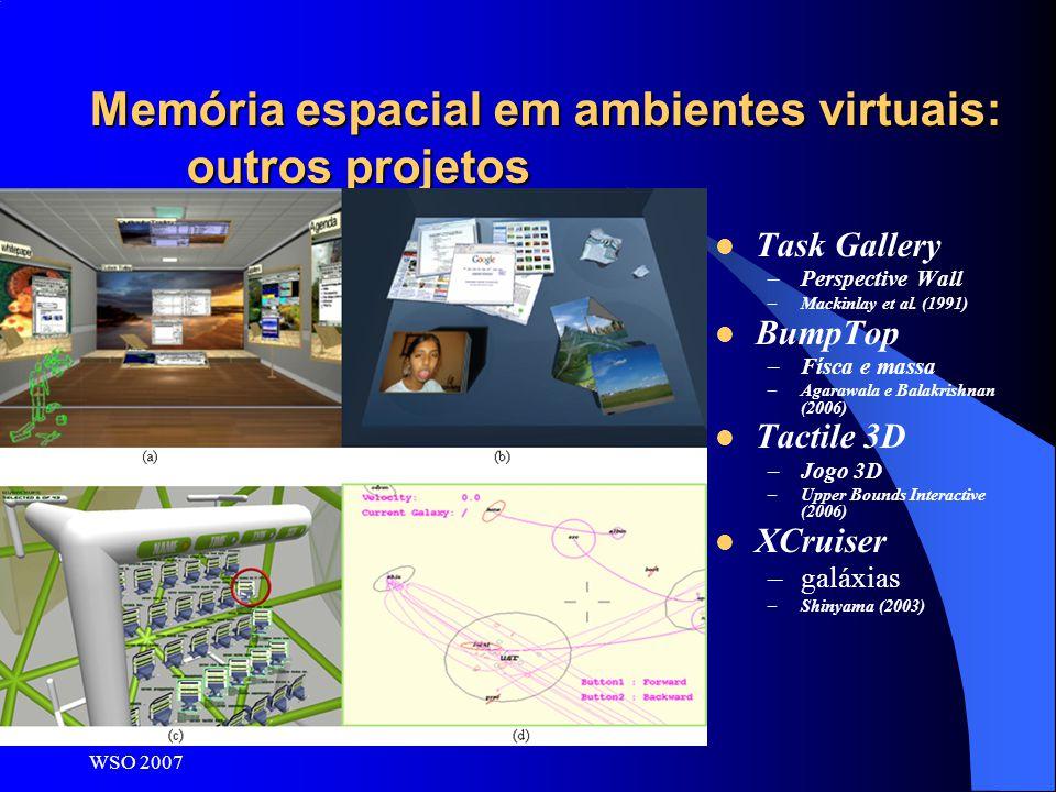 WSO 2007 Memória espacial em ambientes virtuais: outros projetos Task Gallery –Perspective Wall –Mackinlay et al. (1991) BumpTop –Físca e massa –Agara