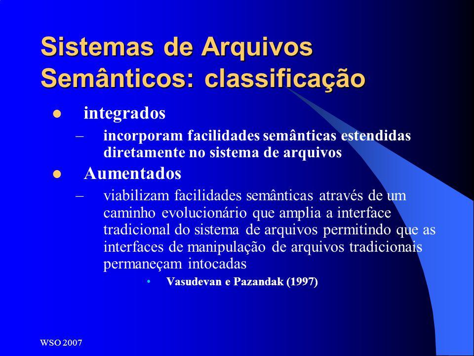 WSO 2007 Sistemas de Arquivos Semânticos: classificação integrados –incorporam facilidades semânticas estendidas diretamente no sistema de arquivos Au
