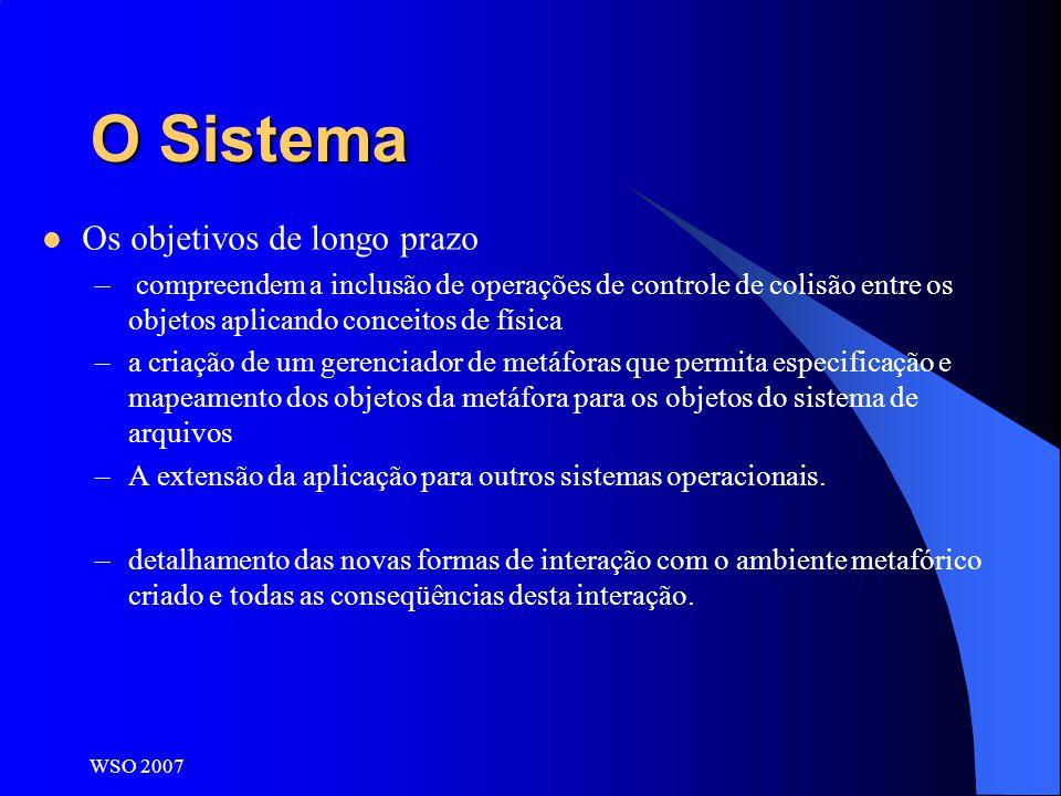 WSO 2007 O Sistema Os objetivos de longo prazo – compreendem a inclusão de operações de controle de colisão entre os objetos aplicando conceitos de fí