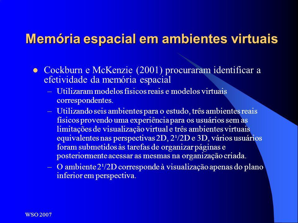 WSO 2007 Memória espacial em ambientes virtuais Cockburn e McKenzie (2001) procuraram identificar a efetividade da memória espacial –Utilizaram modelo